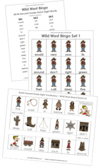 Second Grade Wild West Bingo
